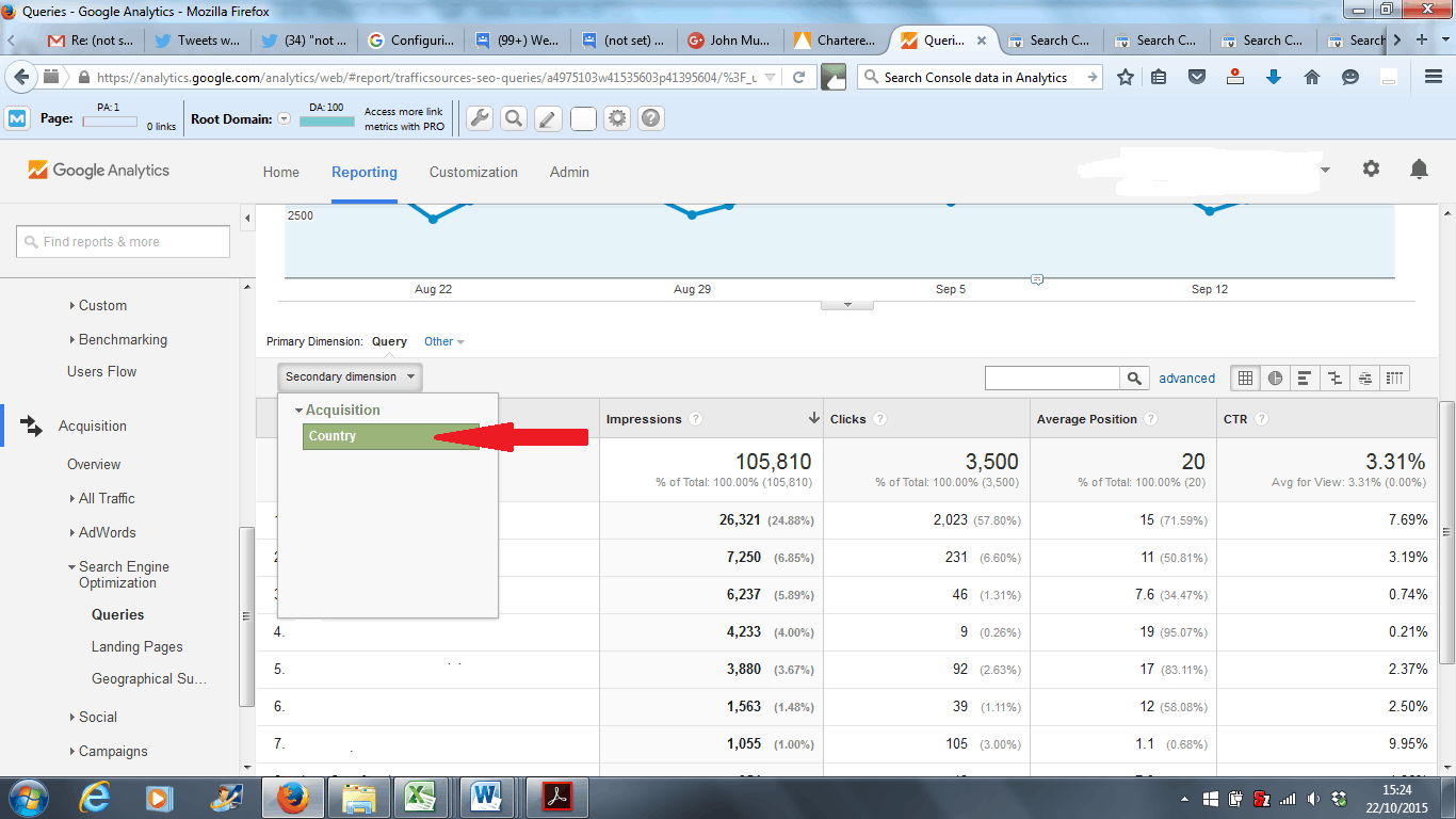 Google Analytics Search Engine Optimization Queries Report - Adding a Data Column