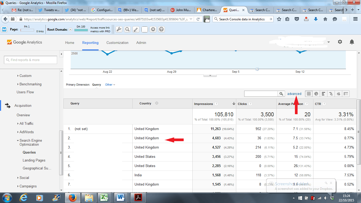 Google Analytics Search Engine Optimization Queries Report - Country Data Column Added