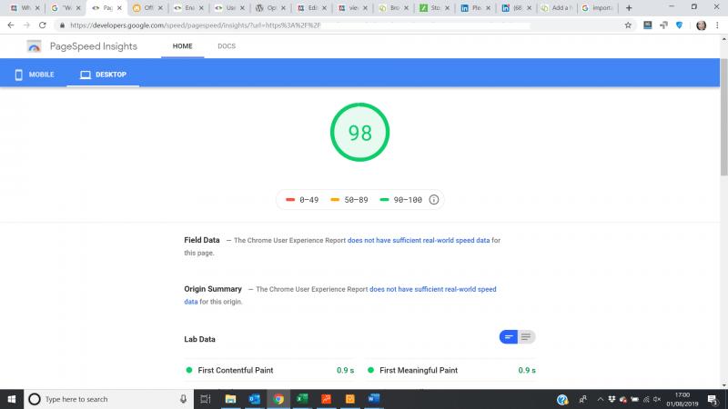 desktop page speed insights